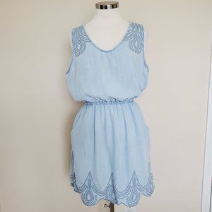Grace Elements Sleeveless Blue Dress Pockets Large